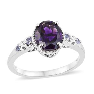 Moroccan Amethyst, Tanzanite Platinum Over Sterling Silver Ring (Size 11.0) TGW 2.64 cts.