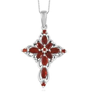 Crimson Fire Opal Platinum Over Sterling Silver Cross Pendant With Chain (20 in) TGW 0.71 cts.
