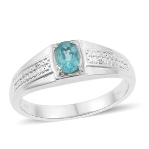 KARIS Collection - Madagascar Paraiba Apatite, Cambodian Zircon Platinum Bond Brass Men's Ring (Size 12.0) TGW 0.87 cts.