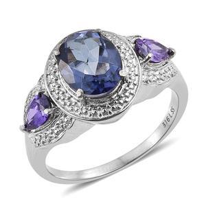 Odyssey Tanzanite Quartz, Simulated Blue Diamond Stainless Steel Ring (Size 7.0) TGW 3.35 cts.