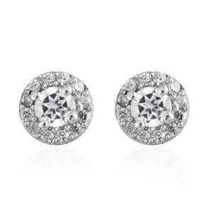 Natural White Zircon Platinum Over Sterling Silver Halo Stud Earrings TGW 0.77 cts.