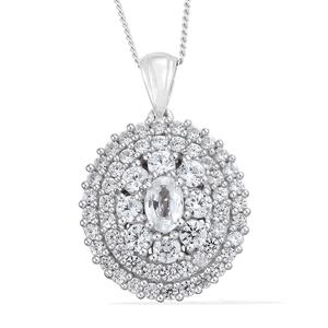 Natural White Zircon Platinum Over Sterling Silver Pendant With Chain (20 in) TGW 3.60 cts.