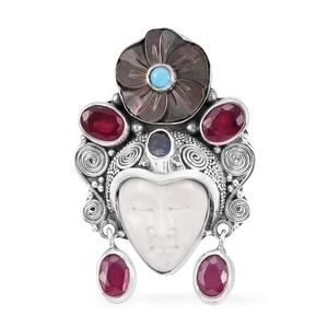 Bali Goddess Collection Carved Bone, Multi Gemstone Sterling Silver Pendant without Chain TGW 11.00 cts.