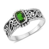 Russian Diopside Sterling Silver Ring (Size 7.0) TGW 0.91 cts.