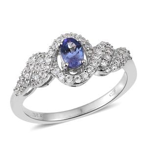 Tanzanite, Cambodian Zircon Platinum Over Sterling Silver Ring (Size 5.0) TGW 0.98 cts.