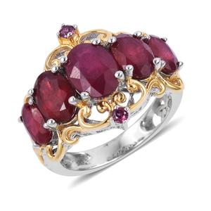 Niassa Ruby, Orissa Rhodolite Garnet Vermail YG Over and Sterling Silver Ring (Size 8.0) TGW 5.25 cts.
