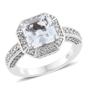 White Topaz Platinum Over Sterling Silver Ring (Size 7.0) TGW 4.77 cts.