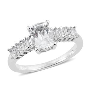 Brazilian Goshenite, White Topaz Platinum Over Sterling Silver Ring (Size 7.0) TGW 1.83 cts.