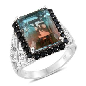 Aqua Terra Costa Quartz, Multi Gemstone Platinum Over Sterling Silver Ring (Size 7.0) TGW 15.77 cts.