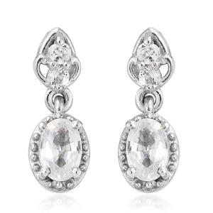 Natural White Zircon Platinum Over Sterling Silver Drop Earrings TGW 1.44 cts.