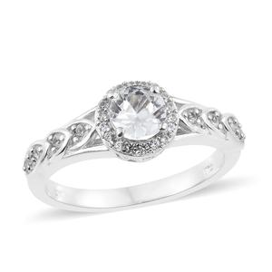 Natural White Zircon Platinum Over Sterling Silver Ring (Size 8.0) TGW 1.53 cts.