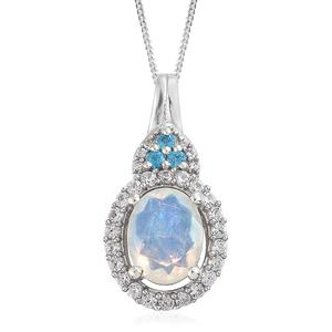Ethiopian Welo Opal, Multi Gemstone Platinum Over Sterling Silver Pendant With Chain (20 in) TGW 1.50 cts.