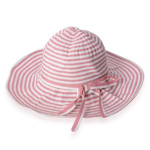 Pink and White 100% Paper Straw Strip Floppy Sun Hat with Bowknot (One Size)