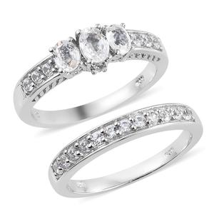Set of 2 Natural White Zircon Platinum Over Sterling Silver Rings (Size 8.0) TGW 2.65 cts.