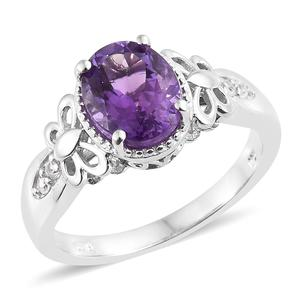 Moroccan Amethyst, Cambodian Zircon Platinum Over Sterling Silver Butterfly Shoulders Ring (Size 7.0) TGW 2.64 cts.