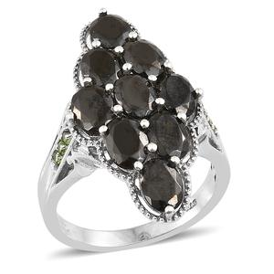 Shungite, Russian Diopside Platinum Over Sterling Silver Ring (Size 7.0) TGW 4.68 cts.
