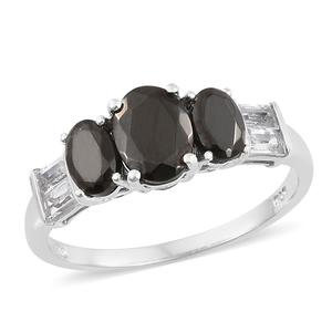 Shungite, White Topaz Platinum Over Sterling Silver Ring (Size 8.0) TGW 2.07 cts.