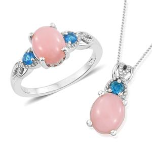 Peruvian Pink Opal, Malgache Neon Apatite Platinum Over Sterling Silver Ring (Size 6) and Pendant With Chain (20 in) TGW 4.35 cts.