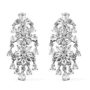 White Topaz Platinum Over Sterling Silver Earrings TGW 12.08 cts.