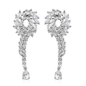 Brazilian Goshenite Platinum Over Sterling Silver Earrings TGW 8.99 cts.