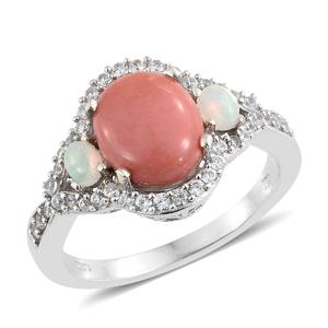 Oregon Peach Opal, Multi Gemstone Platinum Over Sterling Silver Ring (Size 8.0) TGW 3.28 cts.