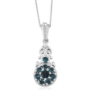 Monte Belo Indicolite, Cambodian Zircon Platinum Over Sterling Silver Pendant With Chain (20 in) TGW 0.59 cts.