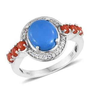 Ceruleite, Multi Gemstone Platinum Over Sterling Silver Ring (Size 7.0) TGW 3.70 cts.