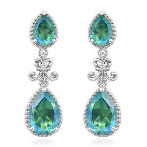 Peacock Quartz Platinum Over Sterling Silver Fleur De Lis Drop Earrings TGW 6.50 cts.