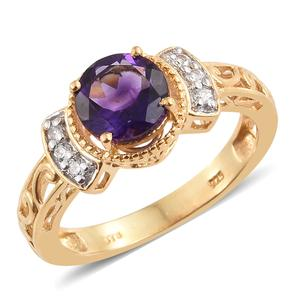 Moroccan Amethyst, Cambodian Zircon Vermeil YG Over Sterling Silver Ring (Size 7.0) TGW 2.18 cts.