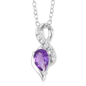 Rose De Maroc Amethyst Solitaire Pendant Necklace in Platinum Over Sterling Silver 0.48 cttw