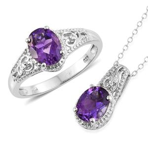 Moroccan Amethyst, Cambodian Zircon Platinum Over Sterling Silver Ring (Size 10) and Pendant With Chain (20 in) TGW 3.54 cts.