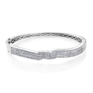 Diamond Platinum Over Sterling Silver Bangle (7.25 in) TDiaWt 2.00 cts, TGW 2.00 cts.