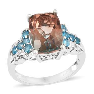 Aqua Terra Costa Quartz, Malgache Neon Apatite Platinum Over Sterling Silver Ring (Size 8.0) TGW 8.00 cts.