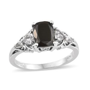 Shungite, White Topaz Platinum Over Sterling Silver Ring (Size 8.0) TGW 2.20 cts.