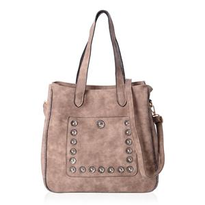 Blush Faux Leather Tote Bag (13.1x5x12.1 in) with Removable Shoulder Strap (47 in)