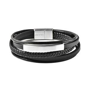Black Genuine Leather, Stainless Steel Multi Strand Men's Bracelet (8.50 In)
