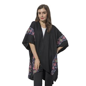 Black 100% Polyester Embroidery with Square Pattern Kimono (31.49x35.44 in)