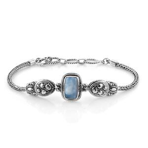 Bali Legacy Collection Larimar Sterling Silver Bracelet (7.50 In) TGW 5.68 cts.