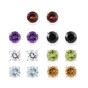 Set of 7 Multi Gemstone Sterling Silver Stud Earrings TGW 7.79 cts.