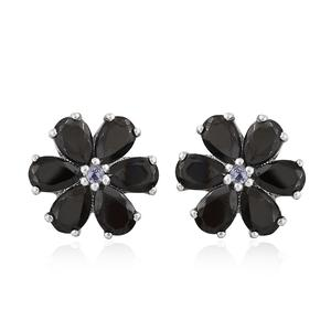 Shungite, Tanzanite Platinum Over Sterling Silver Floral Stud Earrings TGW 3.32 cts.