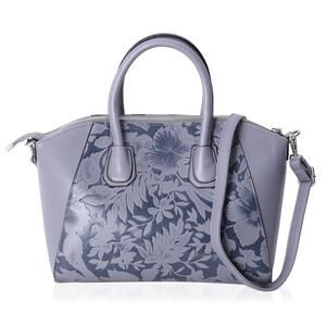 Gray and Dark Gray Flower Pattern Faux Leather Tote Bag with Removable Shoulder Strap (13x7.5x9 in)