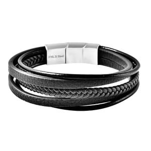 Brown Genuine Leather, Stainless Steel Multi Strand Men's Bracelet (8.00 In)