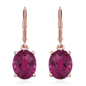 Radiant Orchid Quartz Vermeil RG Over Sterling Silver Lever Back Earrings TGW 5.52 cts.