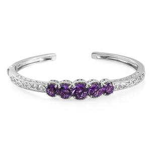 Moroccan Amethyst Platinum Over Sterling Silver Openwork 5 Stone Cuff (7.25 in) TGW 6.09 cts.