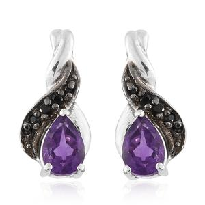 Moroccan Amethyst, Thai Black Spinel Platinum Over Sterling Silver Drop Earrings TGW 0.90 cts.