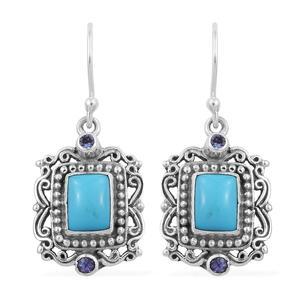 Artisan Crafted Arizona Sleeping Beauty Turquoise, Tanzanite Sterling Silver Dangle Earrings TGW 3.14 cts.