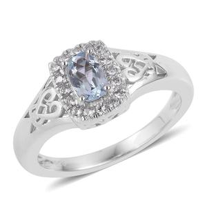 Espirito Santo Aquamarine, Natural White Zircon Sterling Silver Ring (Size 7.0) TGW 0.65 cts.