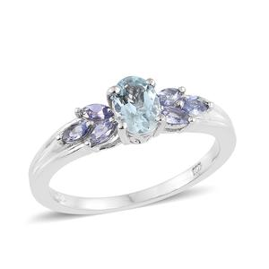 Espirito Santo Aquamarine, Tanzanite Platinum Over Sterling Silver Ring (Size 7.0) TGW 1.11 cts.