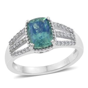 Peacock Quartz, Cambodian Zircon Platinum Over Sterling Silver Ring (Size 6.0) TGW 2.75 cts.