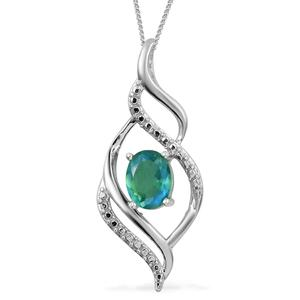 Peacock Quartz Platinum Over Sterling Silver Pendant With Chain (20 in) TGW 1.60 cts.